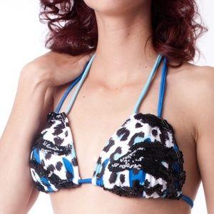 Bikinis leopard & zebra combo blue
